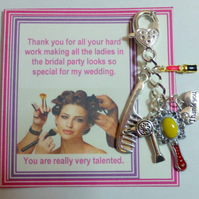 Thank You Gift for Wedding Combined Hairdresser and Makeup Artist Key Ring