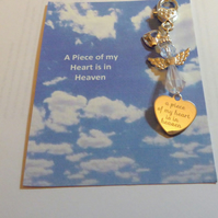 A Piece of my Heart is in Heaven Bag Charm with AB Crystal Guardian Angel Cut ou