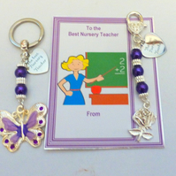Thank you Gift for BEST NURSERY TEACHER Key Ring Bag Charm on Personalised Gift