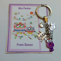Thank you Gift for Teacher at End of School 2020 Term Key Ring Personalised card