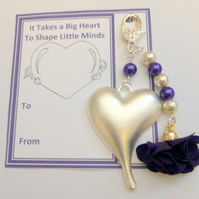 Teacher Gift It Takes a Big Heart to Shape Little Minds Luxury Handbag Charm