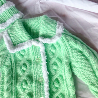 Chunky Light Green Baby CardiganCoatJacket & Hat with White Trim, 20 inch chest