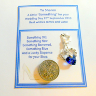 Something Blue Hearts Bridal Wedding Charm for Garter or Bouquet Lucky sixpence