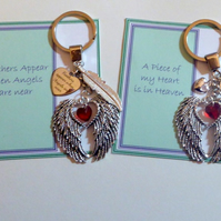 "Remembrance Sympathy Keepsake Key Ring Gift ""A Piece of my Heart is in Heaven"""