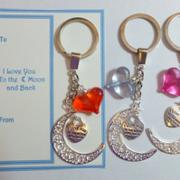 I Love You to the Moon and Back Novelty Key Ring Gift on Gift Card
