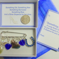 Something Blue Lucky Bridal Kilt Pin Lucky Charm to add to Garter or Bouquet