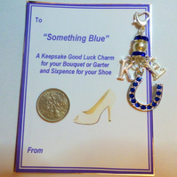 Something Blue Lucky Traditional Bridal Charm Horseshoe & Bride & Groom
