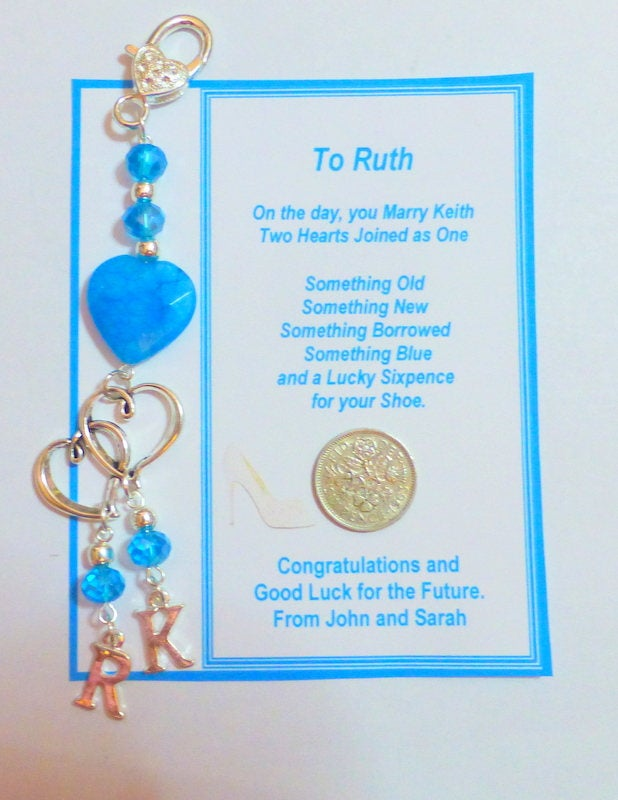 Something Blue Traditional Lucky Bridal Lucky Clip-on Charm for Brides Bouquet