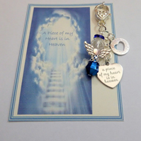 A Piece of my Heart is in Heaven Bag Charm with Dark Blue Guardian Angel