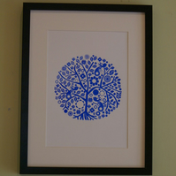 Screen printed tree poster blue or red