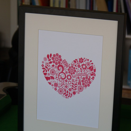 Screen print folk heart poster