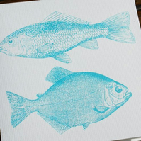 Two fish screen printed card