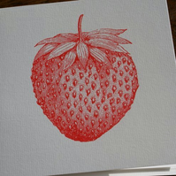 Strawberry screen printed card
