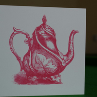 Pink screenprinted coffee teapot card