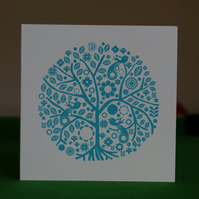Blue screenprinted folk tree card