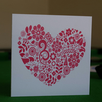 Screen printed red heart card valentine