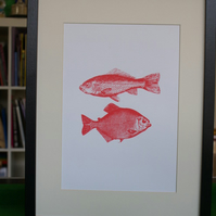 Screen print two fishes poster