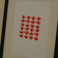 Teapots screen print poster