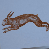 Leaping hare screen printed card