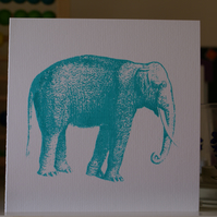 Turquoise elephant screen printed card