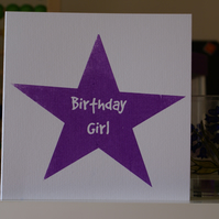 Screen printed star birthday card