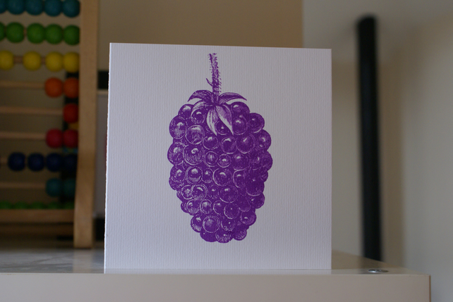 Purple blackberry screen printed card