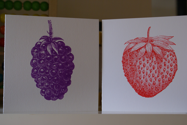Strawberry and blackberry screen printed cards