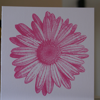 Pink daisy screen print card