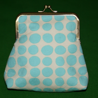 Coin purse in turquoise metal kiss lock frame Amy Butler