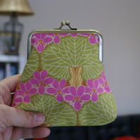 Amy Butler coin purse in green and pink metal kiss lock frame