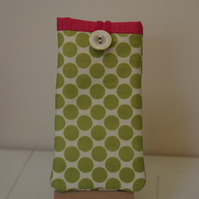 Olive green fuschia pink phone sleeve case