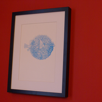 Pufferfish screen print in bright sky blue Limited edition signed art