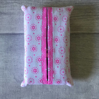 Pocket tissue packet cover, tissue cover, white and bright pink, travel tissues