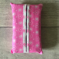 Pocket tissue packet cover, tissue cover, bright pink, travel tissue case,