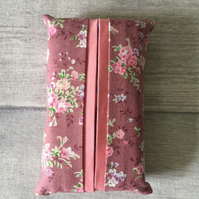 Pocket tissue packet cover, tissue cover, flowers, rose pink, travel tissue case