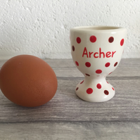 Personalised egg cup, ceramic, handmade, dotty design, egg holder, children's