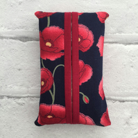 Pocket tissue packet cover, tissue cover, poppy design, travel tissue case