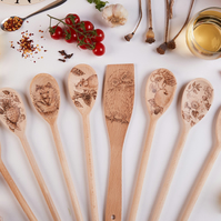 One Hand Decorated Wooden Spoon or Spatula - Owl, Mouse, Hedgehog Designs