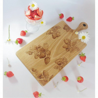 Strawberry Design Oak Chopping Display Serving Board
