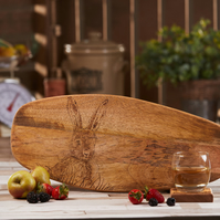Hare Design Hand-Decorated Mango Wood Chopping Serving Display Board