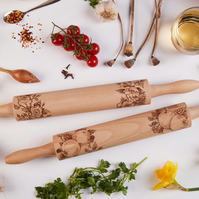 One Hand Designed, Wood-burned Beech Wooden Rolling Pin - Rose or Fruit