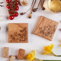 Rose Design - Two Hand Decorated Solid Oak Coasters