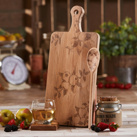 Apple Design Gift Set Oak Chopping Serving Board And Beech Spoon