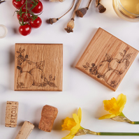 Blackberry and Apple Design - Two Hand Decorated Solid Oak Coasters