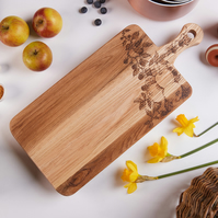 Blackberry And Apple Design Hand Decorated Oak Chopping Board