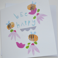 Bee happy bee card lovely any occasion greeting card