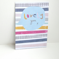 Lovely you collaged postcard with geometric stripes and speech bubble