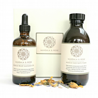 Aromatherapy Muscle Relief Gift Set - Muscle Ease Bath Foam & Massage Body Oil