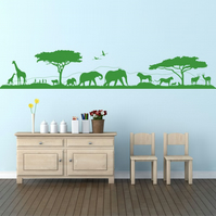 Savannah Skyline, Landscape & animals. Vinyl wall art decal sticker quote.