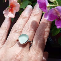 Cornish Sea Glass Ring - 925 Sterling Silver - Beach Seaside Rare Handmade